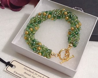Spring Garden Green & Gold Beaded Bracelet Handmade by Emerald Forest Designs
