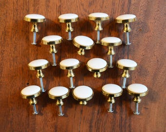 Set of 16 Vintage Drawer Pulls or Knobs, Cabinetry Hardware; Brass exterior and Porcelain Centres, Made in Japan