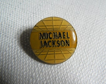 Vintage Early 1980s Michael Jackson Circle Grid Enamel Pin / Button / Badge