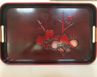 Red and Black Asian Lucite Serving Tray