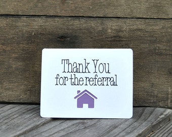 Thank You for the Referral Card Set, referral, Realtor cards, Real Estate, thank you cards for Realtors - Set of 5 cards  - Horizontal