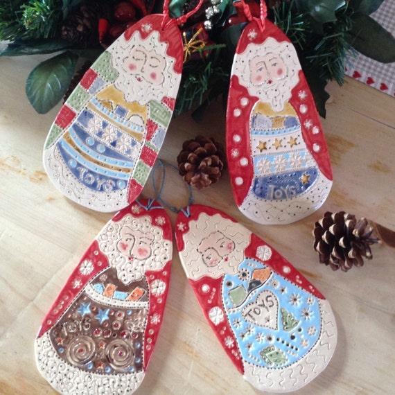 Handmade ceramic Santa decoration
