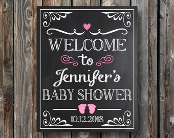 PRINTABLE Baby Shower Sign-Welcome To Baby Shower Chalkboard-Baby Shower Welcome Sign-Baby Shower Chalkboard Sign-Printable Sign-CW01