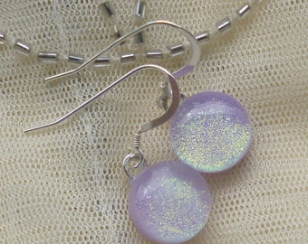 Lilac Dichroic Glass Dangle Earrings.  Fused Glass Earrings. Lilac Glass Dangle Earrings