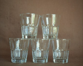Set of 5 Vintage Shot Glasses, Vintage Barware