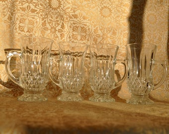 Set of 4 Tall Crystal Coffee Glasses, Made in Italy, Coffee Mugs