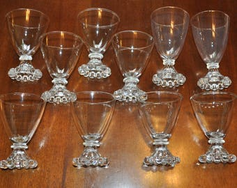 Anchor Hocking Bubble Glass, Set of 10, Vintage Bubble Glass