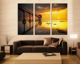 """Bridge on beach, Canvas Print. Beautiful ocean, sunset at the pier 1.5"""" deep frames blue and yellow skies for interior room decor"""