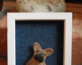 French bulldog, Frenchie. Needle Felted Portrait.  3D felt dog. Mistletoe Dreams.