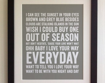 FRAMED Lyrics Print - Peter Frampton, Baby I Love Your Way - 20 Colours options, Black/White Frame, Wedding, Anniversary, Valentine's