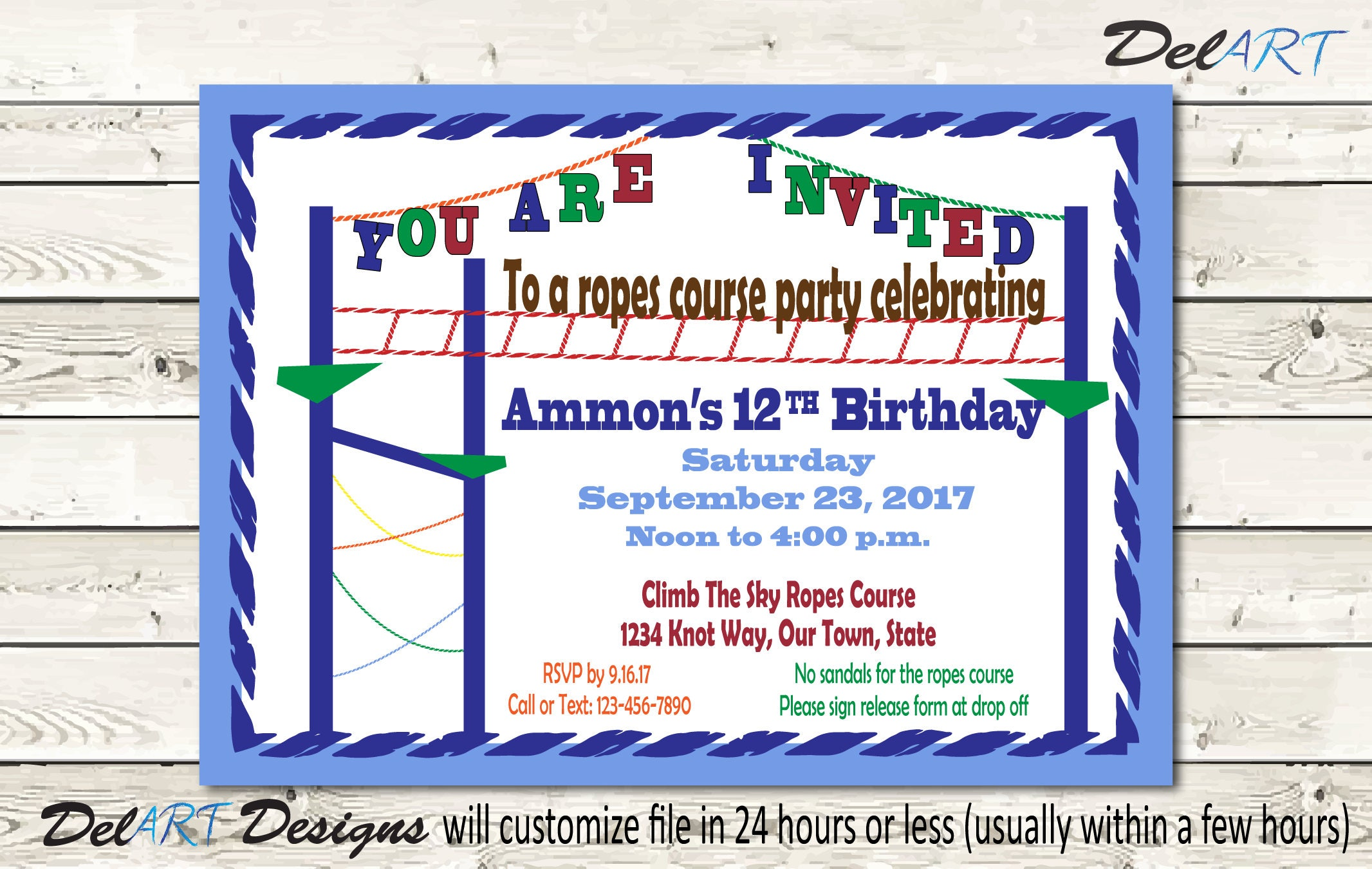Ziplining scrapbook ideas - Ropes Course Birthday Party Invitation Invite Or Save The Date Digital Custom File 5 X 7 4 X 6 Inch Jpg Or Pdf Files