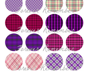 INSTANT DOWNLOAD 20mm Pink & Purple Plaid  4 x 6 Template