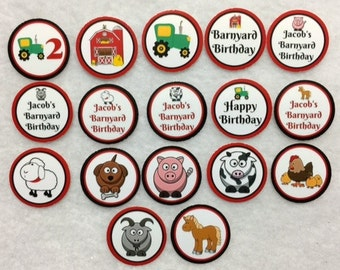 Set of 50/100/150/200  Farm Animal 2nd Birthday Party 1 Inch Confetti Circles