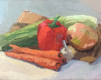Vegetables - Palette Knife Original Oil Painting on Canvas Kitchen or Dining area