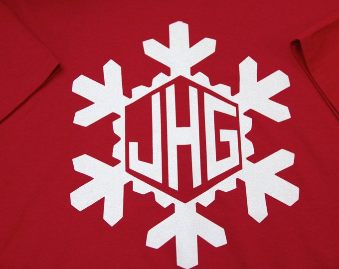 Christmas or Winter Monogram GLITTER SNOWFLAKE long sleeve t shirt OR sweatshirt Unlimited Color Combinations Christmas Holiday Sparkle