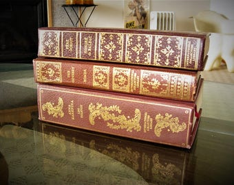 Beautiful Set of 3 Classic Literature Books, Home Decor Leatherette bound Books, Maroon-Rust bindings with gold, Antique Binding Replicas