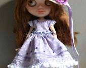 Handmade cotton dress + cup and boots for Blythe and Pullip outfit