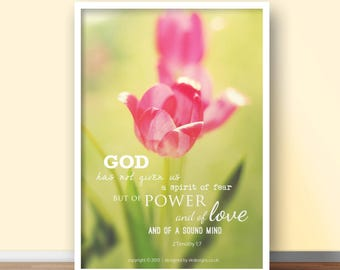 NEW 2 Timothy 1:7 A4 Christian Poster - Glossy