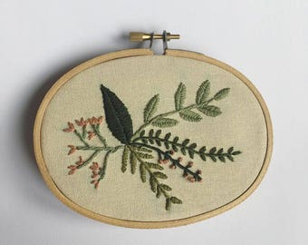 Leaf Oval Embroidery Hoop Art
