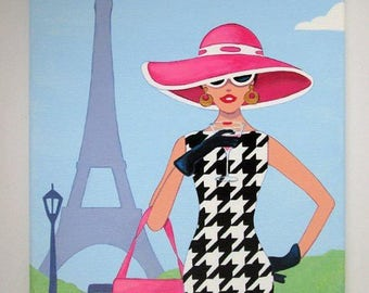 Original Art Painting Lady in Paris  dogtooth houndstooth Dress, Hat on canvas 16 x 12 inches