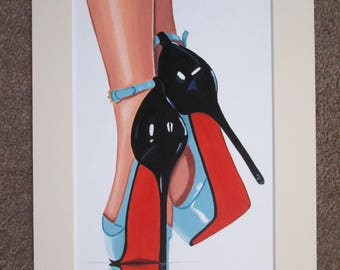 Original Painting blue fashion stiletto shoes red soles A4 with cream mount/ matt Art