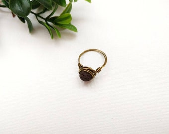 Brass Lava Rock ring, essential oil rings, diffuser ring, essential oil diffuser ring, essential oil diffuser jewelry, aromatherapy ring