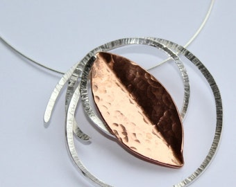 Handmade Silver & Copper Textured Pendant with necklace
