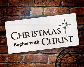 Christmas Begins - Word Art Stencil - Select Size - STCL1529 - by StudioR12