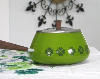Mid Century Enamelware Fondue Pot Made in Switzerland