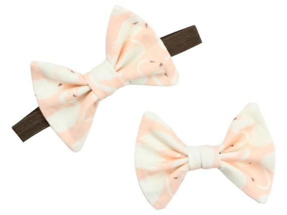 ORGANIC Peach Swans Headband Baby Headband Bow Clip Toddler Bow Peach Swan Hair Bow Clip Peach Swans Headband Peach Swans Baby Girl Gift