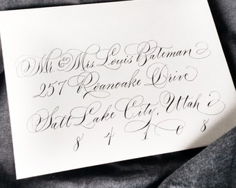 Flourish Style; Wedding Envelope Calligraphy; Hand Addressed