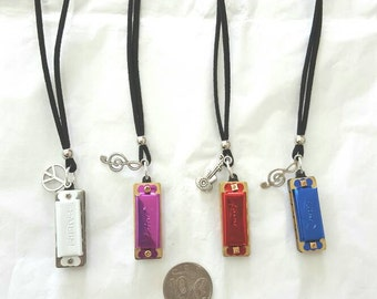 Harmonica charm necklace