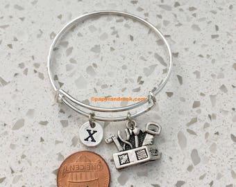 Tool box initial bangle tool box jewelry, construction jewelry, builder jewelry, tool bracelet, home reno jewelry, box of tools