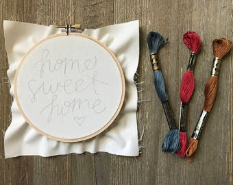 Embroidery Kit - Home Sweet Home Embroidery Kit with 5 Inch Hoop - Beginner's Level Kit and Pattern - Housewarming - DIY