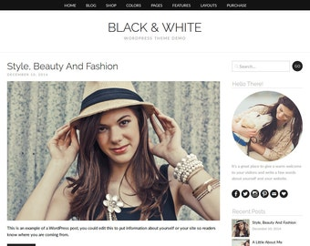 "WordPress Theme ""Black And White"", WooCommerce E-commerce Shop, Responsive Blog Template, for WordPress.org Websites"