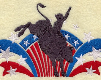 COWBOY RIDING BULL In American Rodeo Machine Embroidery Quilt Square, Art Panel
