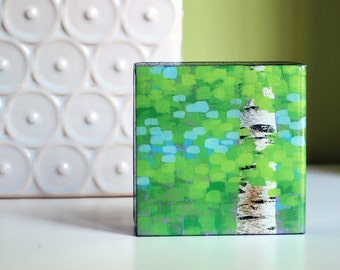"4""x4"" Mixed Media Painting of Birch Trees"
