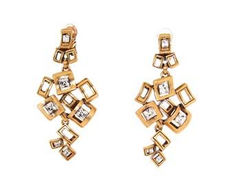 Vintage Oscar de La Renta Earrings Big Crystal Gold Chandelier Clip On