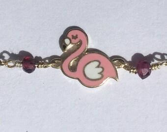 K9 solid Gold  flamingo Handmade enameled gift for her bracelet