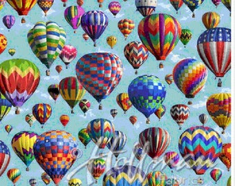 Hot Air Balloons Floating-Hoffman Fabrics-Digitally Printed-BTY