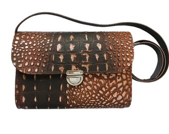 Croc Bag - Crocodile Bag - Handmade in UK - Small Bag - Small Leather Bag - Croc Leather - Leather Clutch - Brown Clutch - Funky Bag