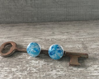 Hand Painted Polymer Clay and Resin Stud Earrings