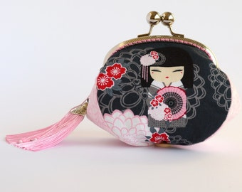 Hand crafted Japanese doll clutch/coin purse with chrome kiss lock frame - collectable #0001