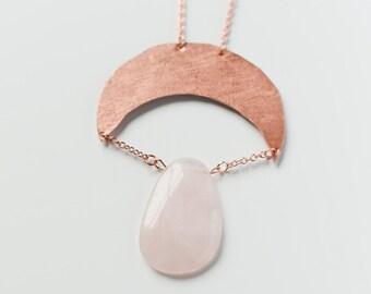Copper moon with Rose Quartz stone