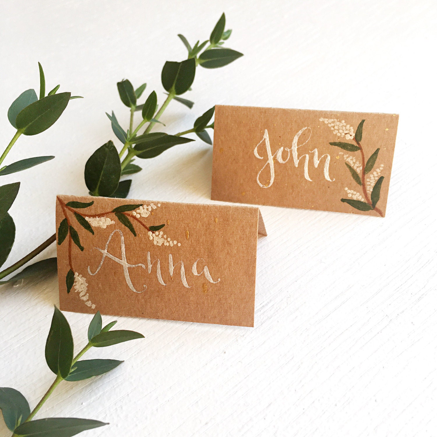 Custom hand written calligraphy wedding place cards rustic for Personalized wedding place cards