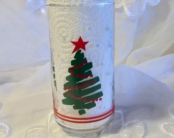 Clear Glass Squiggle Green Christmas Tree Tumbler, Replacement Glass, Christmas Tumbler, Holiday Glass, Christmas Tree Glass