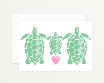 "Turtle Family Greeting Card: ""WATERCOLOR TURTLE FAMILY"" with Pink Heart Printable Card for New Baby, Baby Shower, New Mother Postcard"