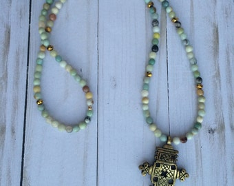 Beaded cross necklace | bohemian necklace | ethiopian cross | brass pendant necklace | amazonite beaded necklace
