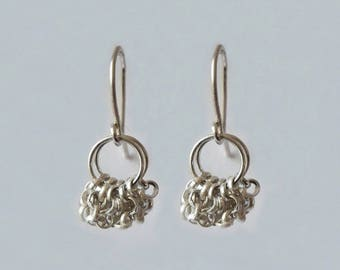 """String"" dangle Silver earrings"