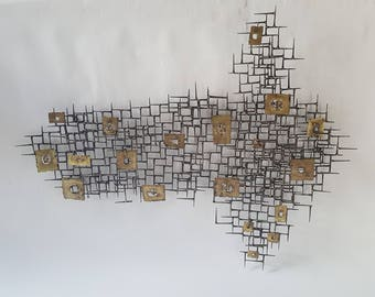"""Large 57"""" Brutalist Metal Wall Sculpture of Bronze, Brass, and Nails"""